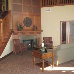 Engel Haus Senior Living Community Room and Fireplace